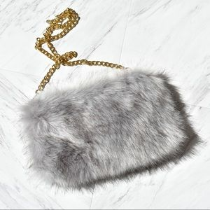Faux fur purse grey & white with gold chain strap